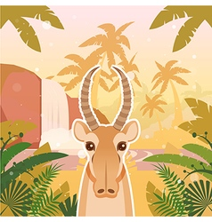 Saiga on the jungle background vector