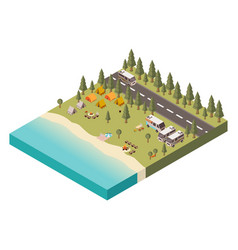 campsite with road isometric vector image