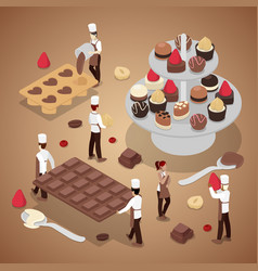 Isometric people making chocolate candies vector