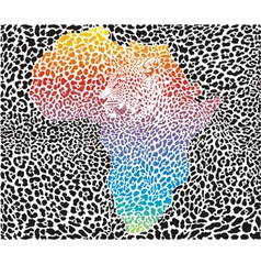 Leopard background with a symbol of Africa vector image