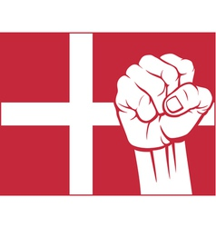 flag of denmark with fist vector image