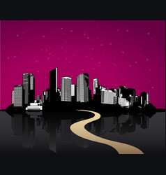 Black cityscape with skyscrapers vector
