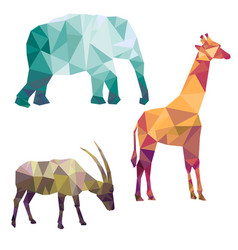 polygonal silhouettes of african animals vector image