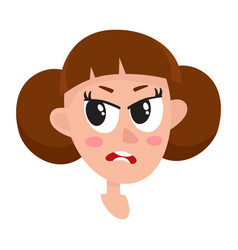 Pretty brown hair woman angry facial expression vector