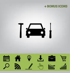 car tire repair service sign  black icon vector image