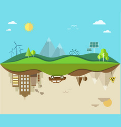 Nature saving and pollution flat vector