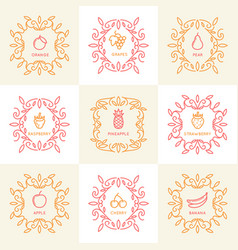 Set of vintage monograms vector