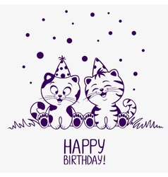 Kittens birthday vector