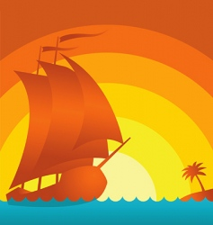 sunset ship vector image