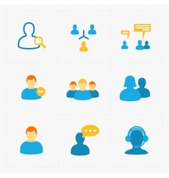 People flat icons set on white vector