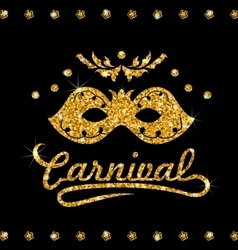 Shimmering carnival mask with golden dust on dark vector