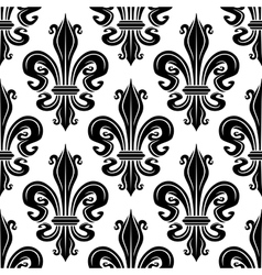 Seamless pattern of black royal lilies vector