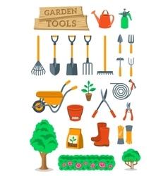 Gardening farming tools and instruments flat vector
