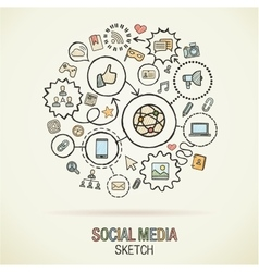 Social media hand drawing hatch icons vector
