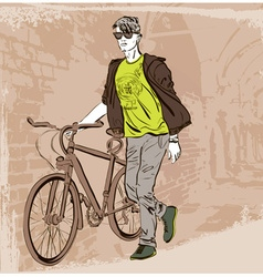 Dude with a bike sightseeing vector