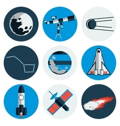 Flat design icons of space and astronomy vector