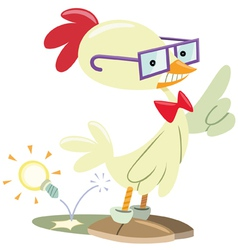 Chicken nerd vector