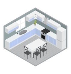 Isometric home dining room vector
