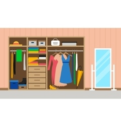 Rroom with wardrobe and mirror vector