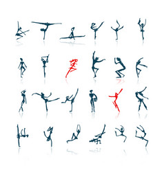 active people set sketch for your design vector image