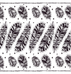 Birds feathers boho seamless pattern vector