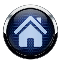 Blue honeycomb home icon vector