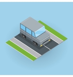 Car on road in isometric projection vector
