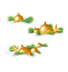 Christmas decorations and pine branches vector