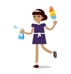 Cleaning woman in maid uniform vector