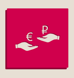 currency exchange from hand to hand euro and vector image vector image