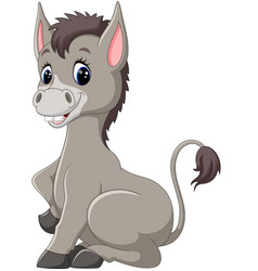 cute baby donkey cartoon vector image