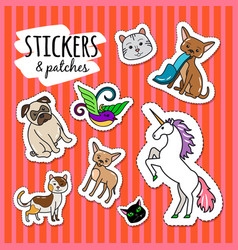 Different animals stickers patches vector
