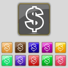Dollar icon sign Set with eleven colored buttons vector image