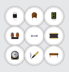 Flat icon electronics set of resistor receiver vector