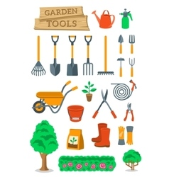 Gardening farming tools and instruments flat vector image vector image