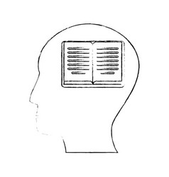 head human book creativity vector image