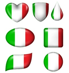 Italian flag in various shape glossy button vector image vector image