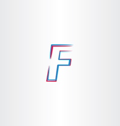 Letter f icon symbol blue red sign vector