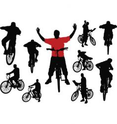 Men with bicycle vector