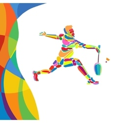 Multicolor abstract professional badminton player vector
