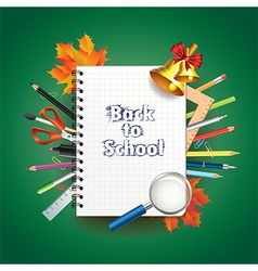 school notebook tools background vector image vector image