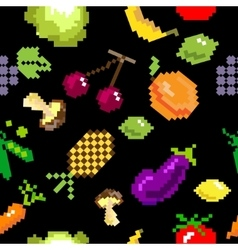 Seamless retro pixel game fruits pattern vector