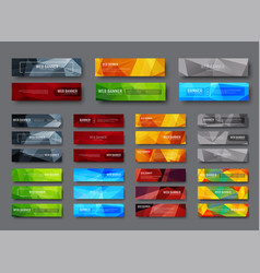Set of horizontal web banners with multicolored vector