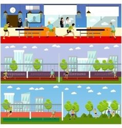 Set of people playing tennis ping-pong and vector