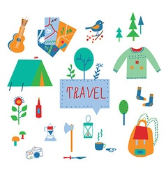 Travel and tourism icons set with funny design vector image vector image