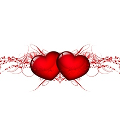 two red hearts vector image vector image