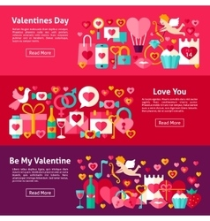 Valentines day web horizontal banners vector
