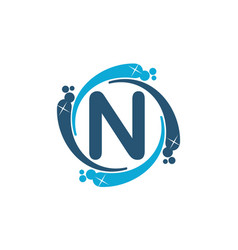 Water clean service abbreviation letter n vector