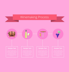 Winemaking process on pink vector