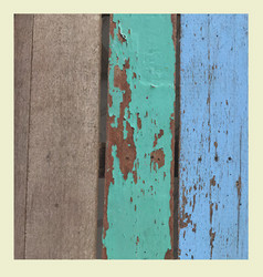 Wooden grunge texture in blue green and brown vector